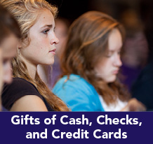 Rollover image of students at chapel. Link to Gifts of Cash, Check, and Credit Cards.