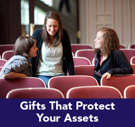 Rollover image of three students talking. Link to Gifts That Protect Your Assets.