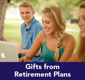 Rollover image of a group of students at a picnic. Link to Gifts of Retirement Plans.