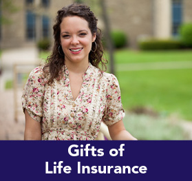 Rollover image of a female student smiling. Link to Gifts of Life Insurance.